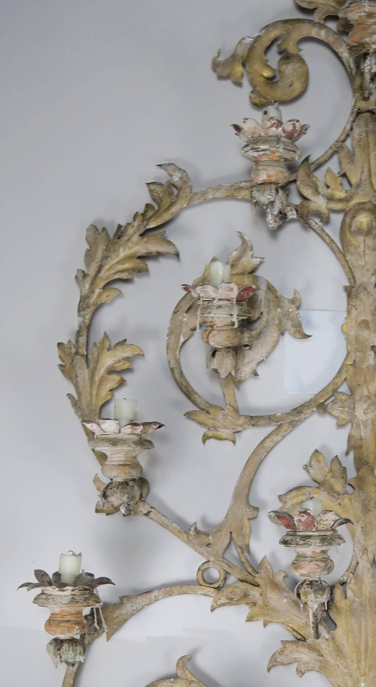 19th Century Italian 16-Light Wall Ornament for Candles 4