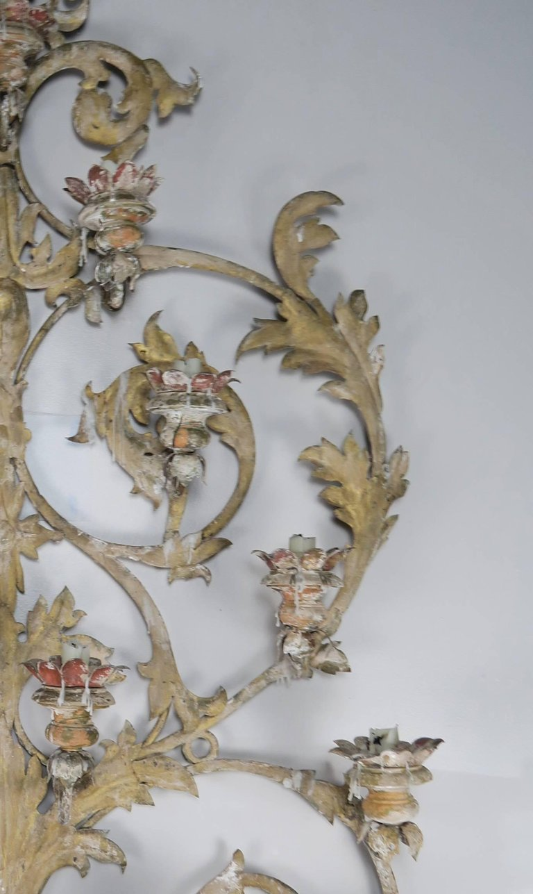 19th Century Italian 16-Light Wall Ornament for Candles 5