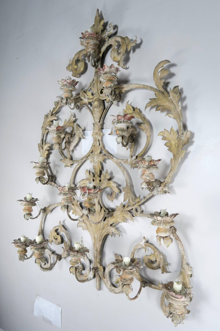 19th Century Italian 16-Light Wall Ornament for Candles 6