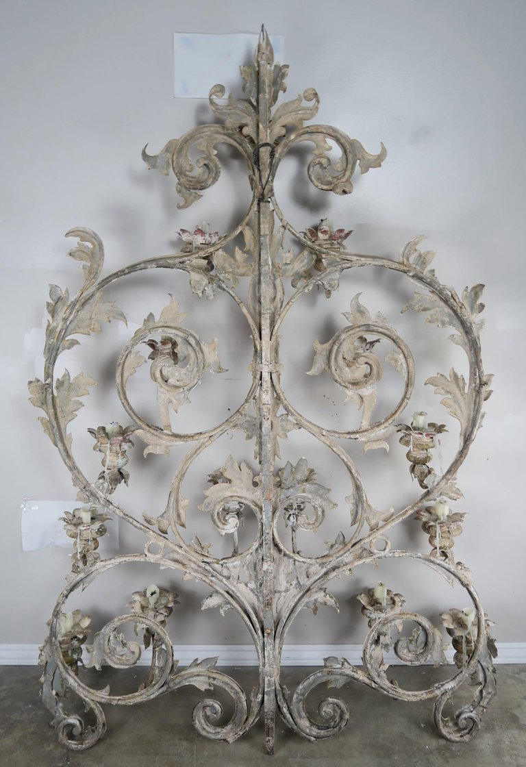 19th Century Italian 16-Light Wall Ornament for Candles 7