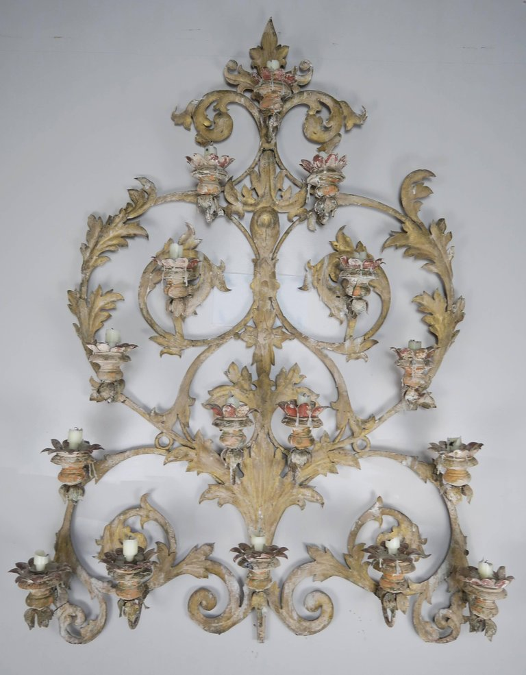 19th Century Italian 16-Light Wall Ornament for Candles 8