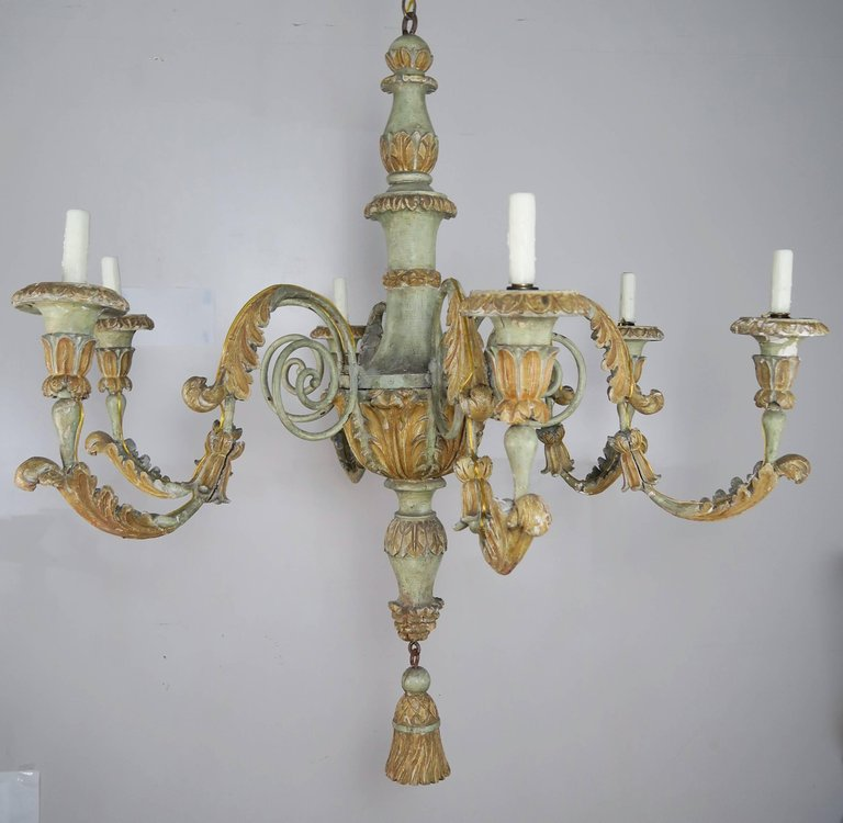 19th Century Italian Painted Wood and Iron Chandelier 2