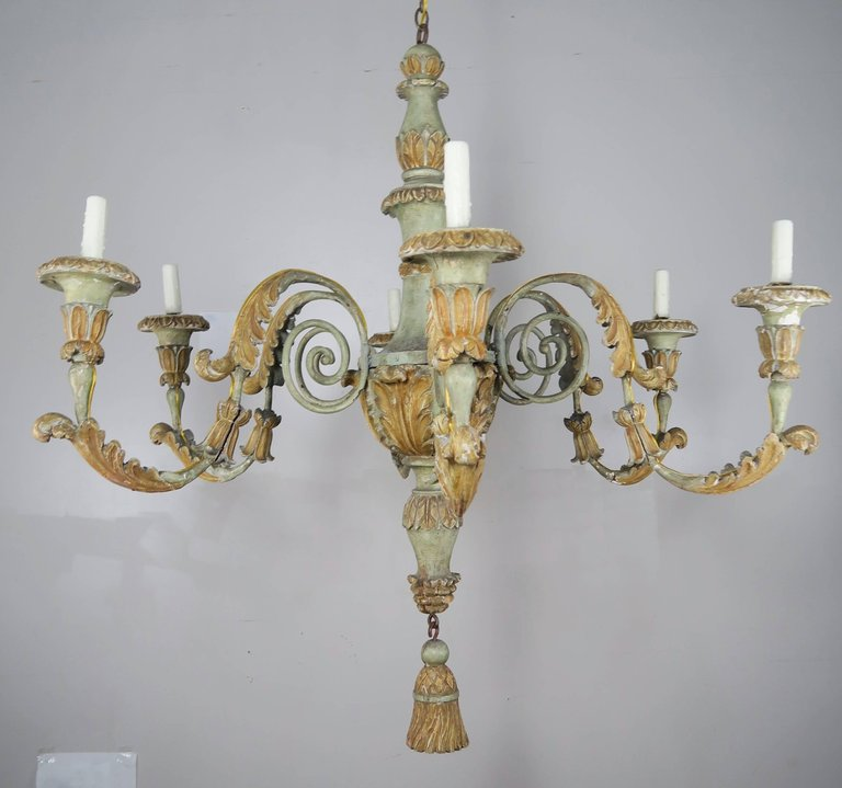 19th Century Italian Painted Wood And Iron Chandelier