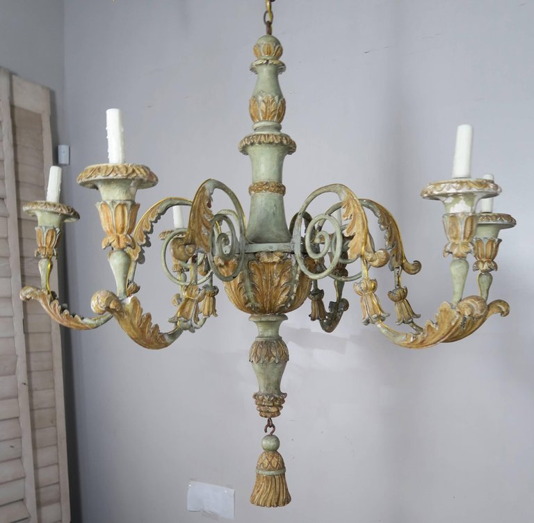 19th Century Italian Painted Wood and Iron Chandelier 4