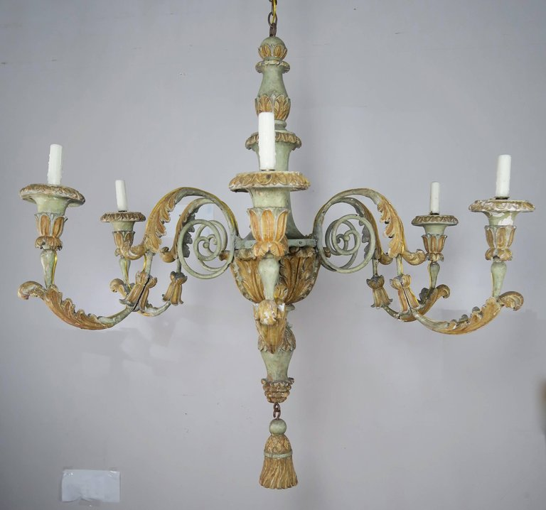 19th Century Italian Painted Wood and Iron Chandelier 7