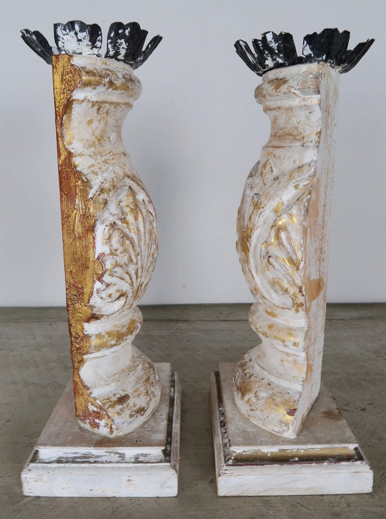 Carved Giltwood and Gesso Candleholders with Iron Candle Cups 3