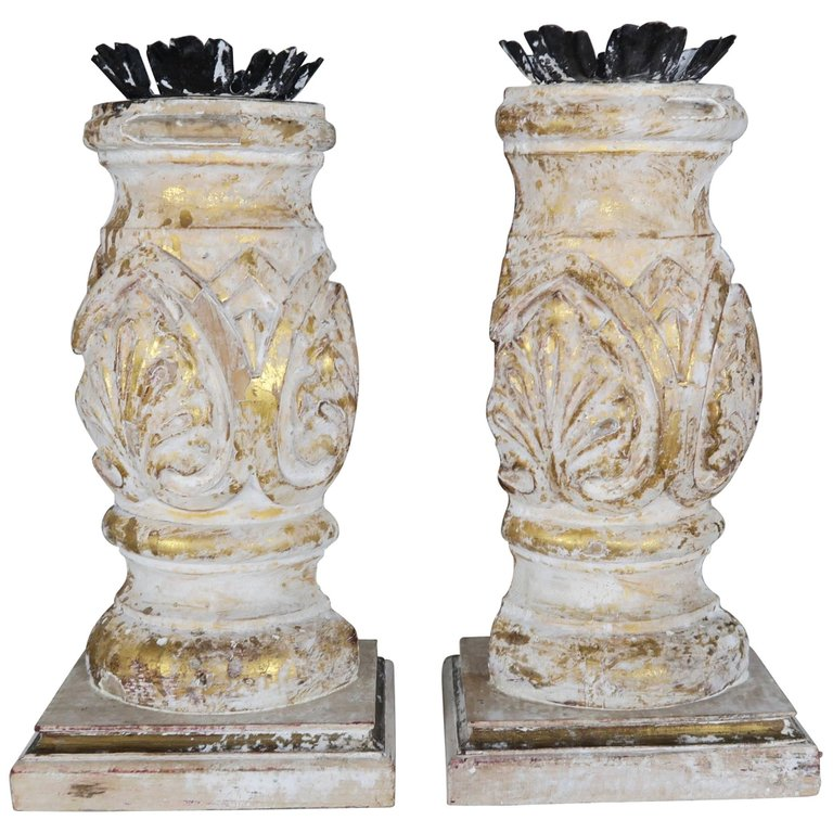 Carved Giltwood and Gesso Candleholders with Iron Candle Cups