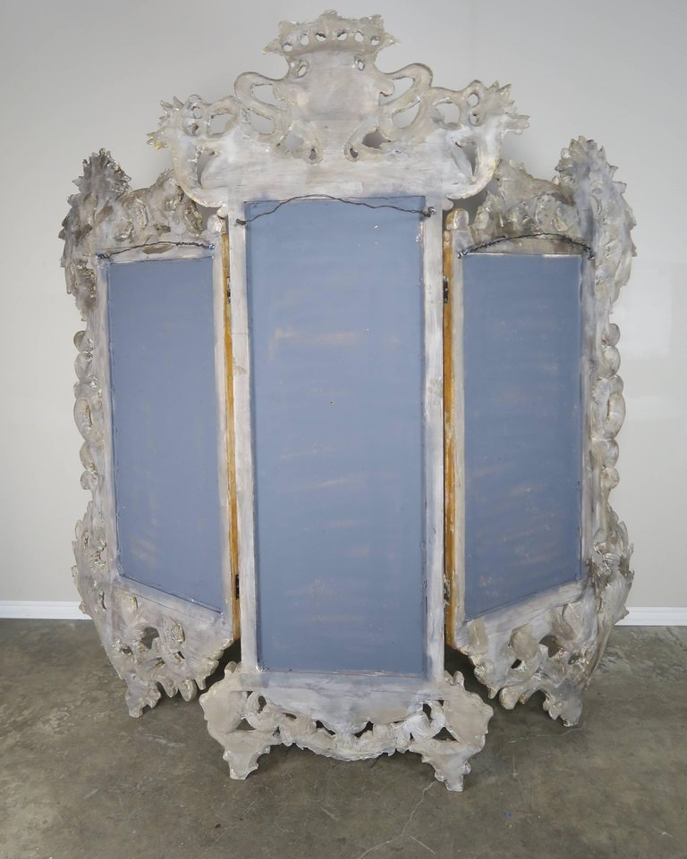 French Rococo Style Painted and Parcel-Gilt Three-Part Mirror 2