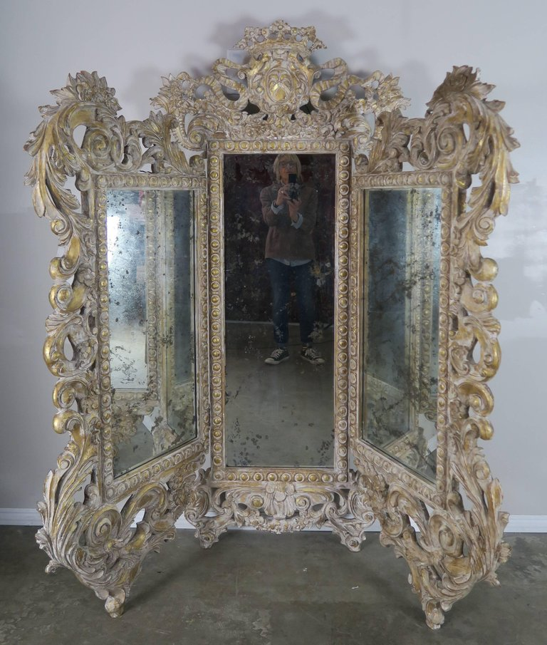 French Rococo Style Painted and Parcel-Gilt Three-Part Mirror 4