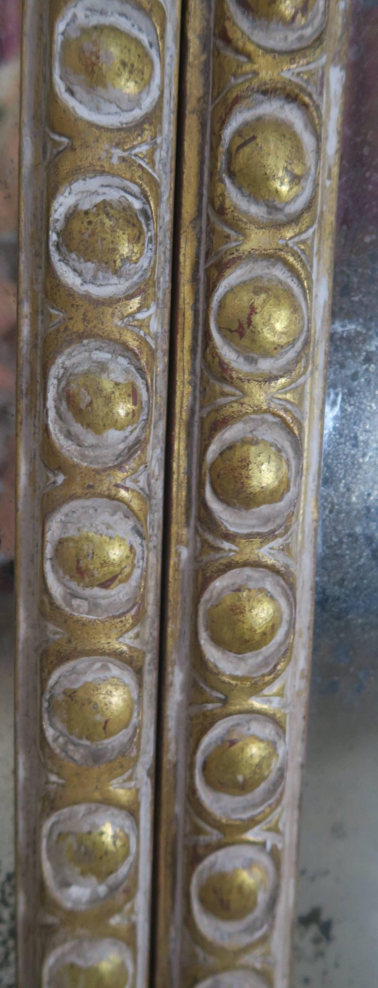 French Rococo Style Painted and Parcel-Gilt Three-Part Mirror 8