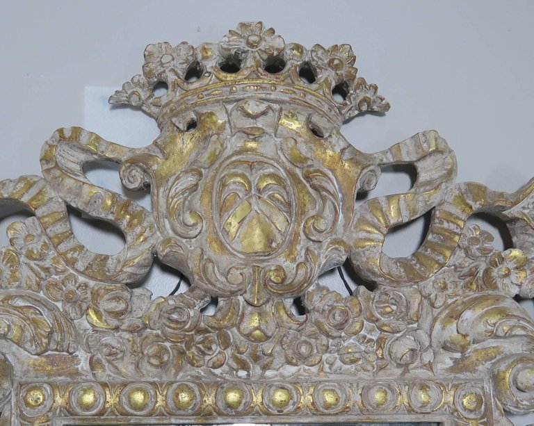 French Rococo Style Painted and Parcel-Gilt Three-Part Mirror 9