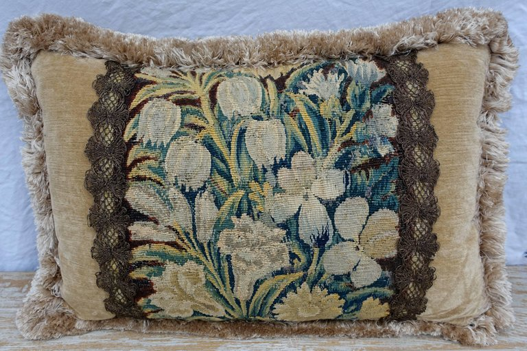 18th Century Flemish Tapestry Pillows, Pair 1