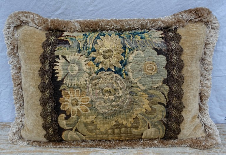 18th Century Flemish Tapestry Pillows, Pair 2