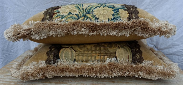 18th Century Flemish Tapestry Pillows, Pair 3