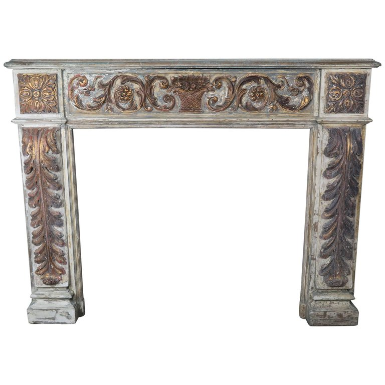 19th Century Italian Painted and Parcel-Gilt Fireplace Mantel