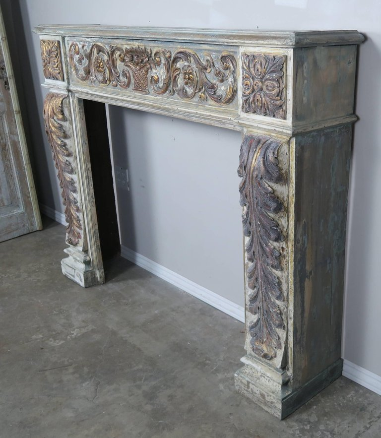 19th Century Italian Painted and Parcel-Gilt Fireplace Mantel1