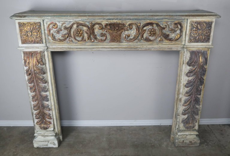 19th Century Italian Painted and Parcel-Gilt Fireplace Mantel2