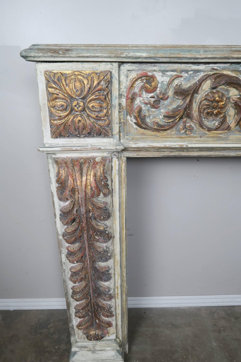 19th Century Italian Painted and Parcel-Gilt Fireplace Mantel4