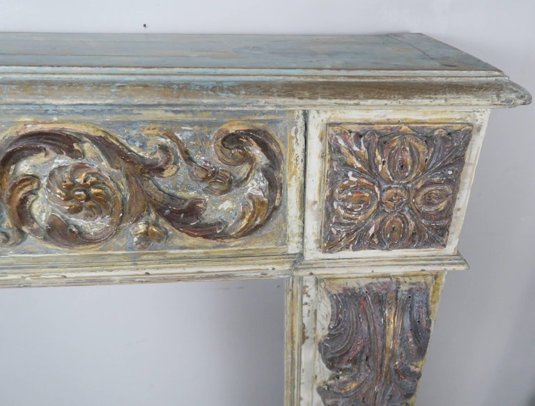 19th Century Italian Painted and Parcel-Gilt Fireplace Mantel5