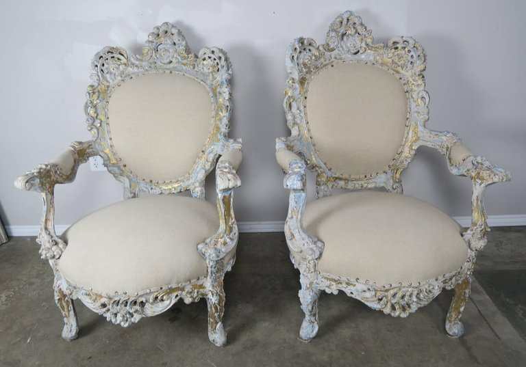 19th Century Painted and Parcel-Gilt French Armchairs, Pair 1