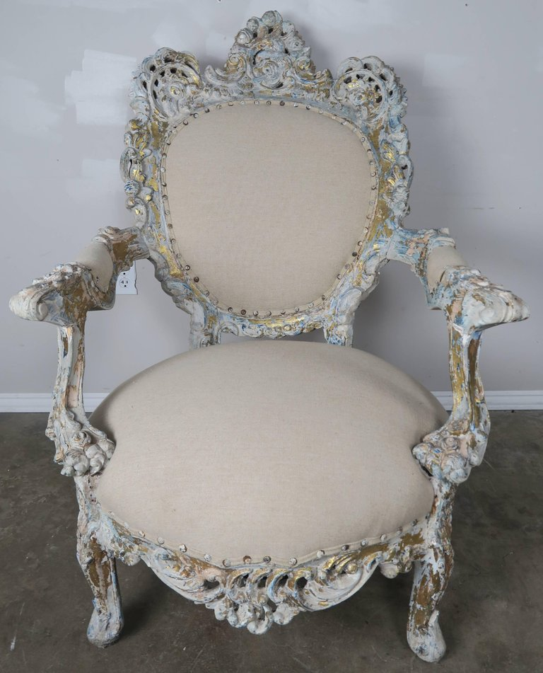 19th Century Painted and Parcel-Gilt French Armchairs, Pair 2