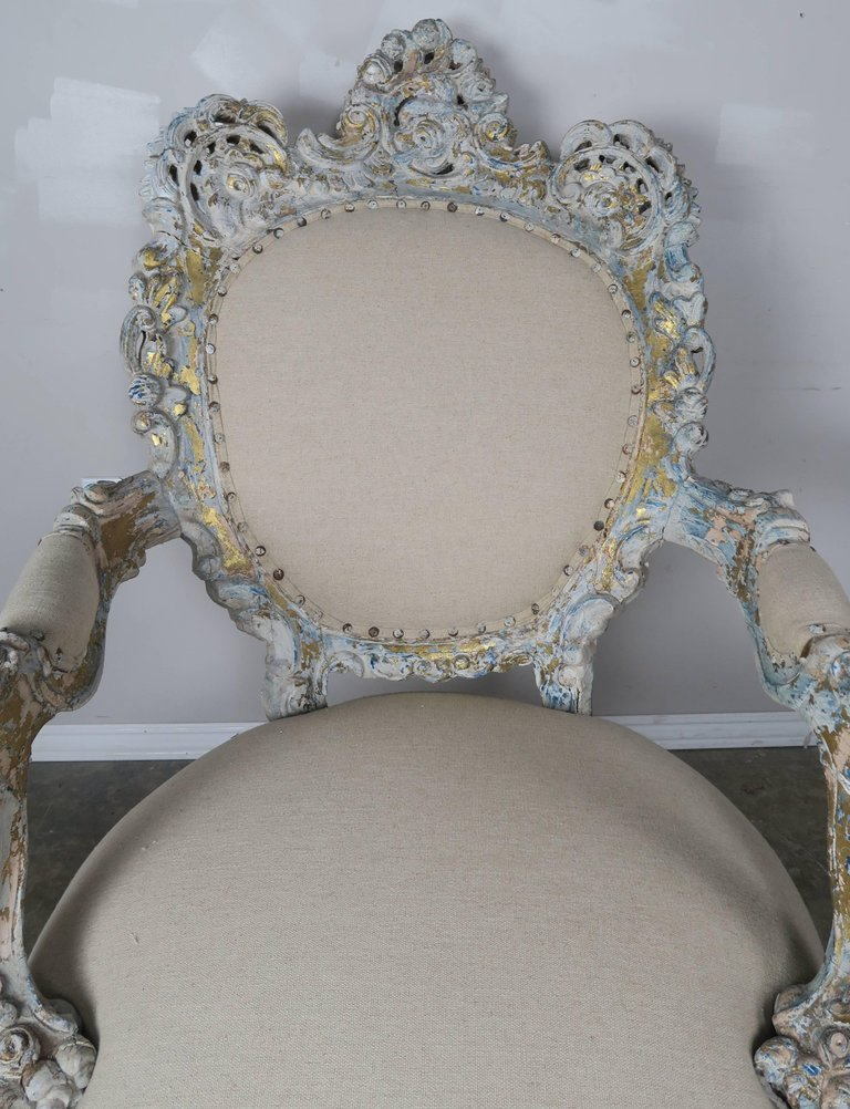 19th Century Painted and Parcel-Gilt French Armchairs, Pair 3