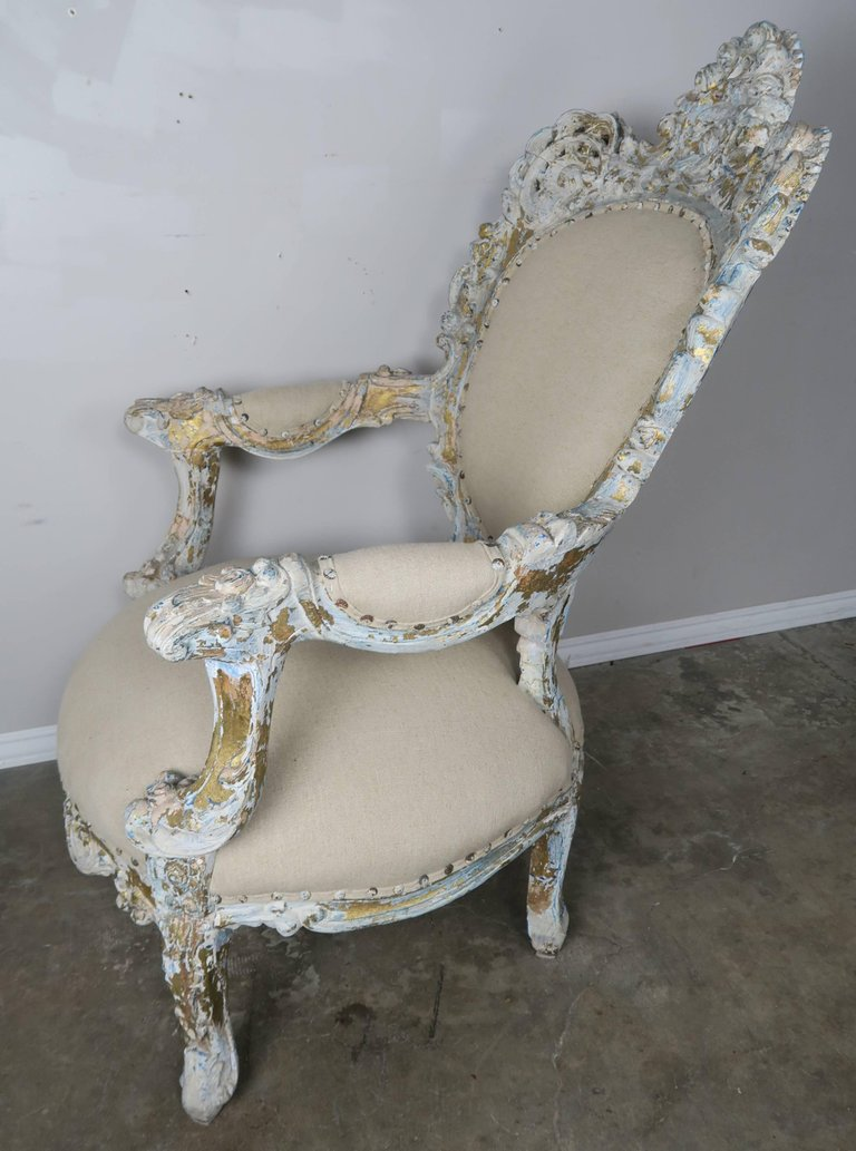 19th Century Painted and Parcel-Gilt French Armchairs, Pair 4