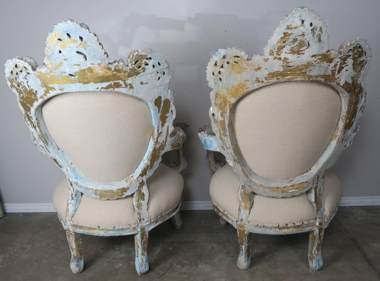 19th Century Painted and Parcel-Gilt French Armchairs, Pair 6