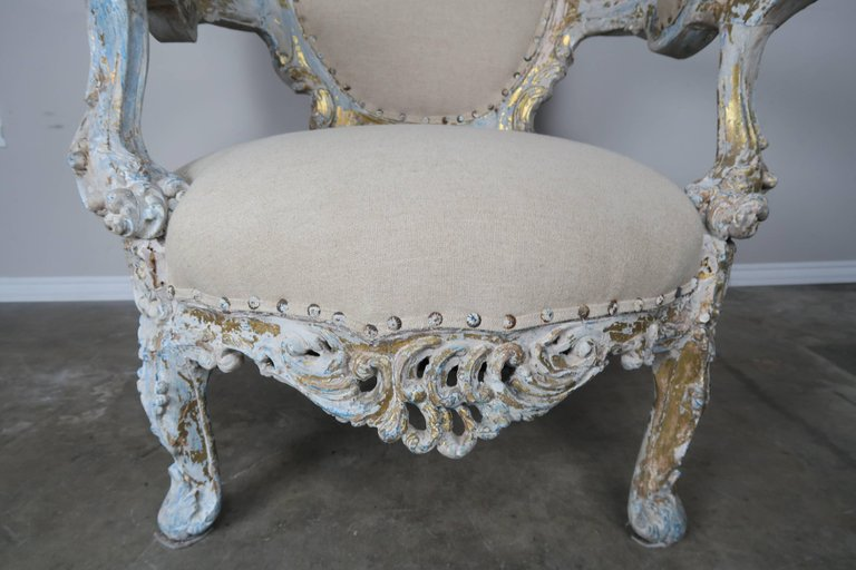 19th Century Painted and Parcel-Gilt French Armchairs, Pair 7