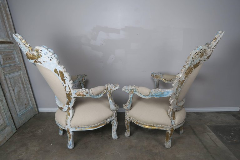 19th Century Painted and Parcel-Gilt French Armchairs, Pair 8