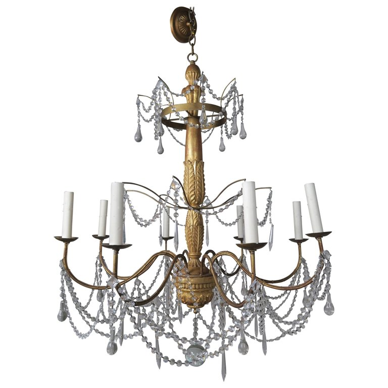 Italian Geneviere Style Giltwood and Crystal Chandelier