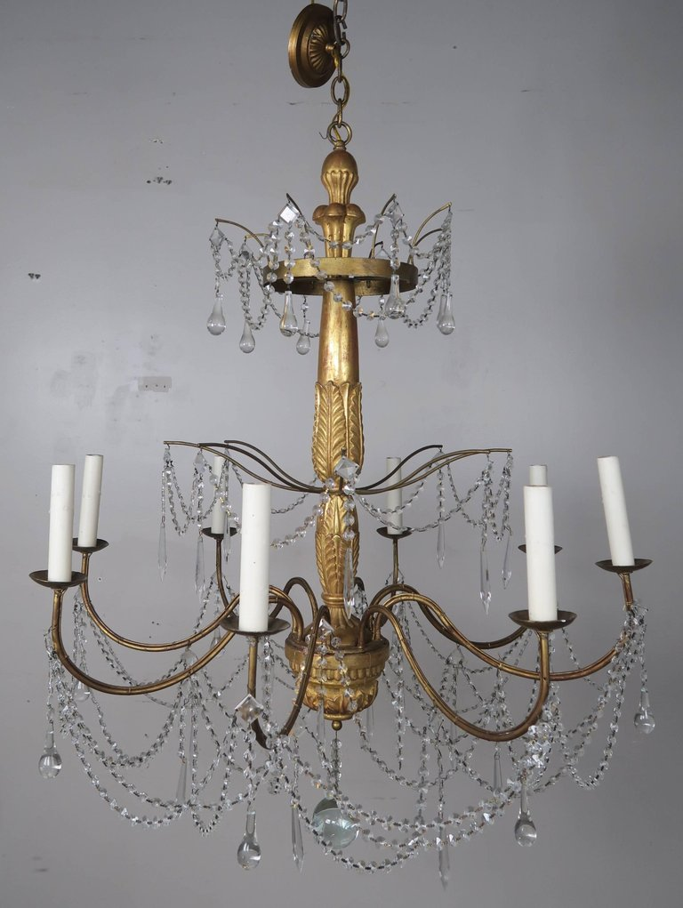 Italian Geneviere Style Giltwood and Crystal Chandelier1