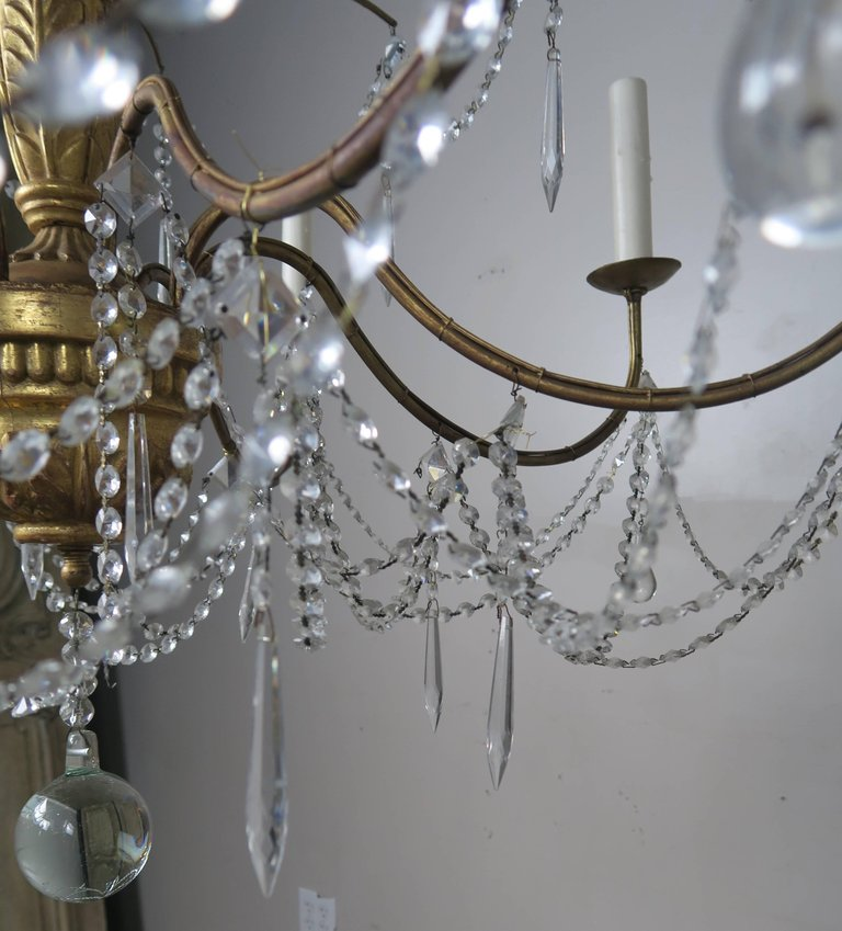 Italian Geneviere Style Giltwood and Crystal Chandelier5