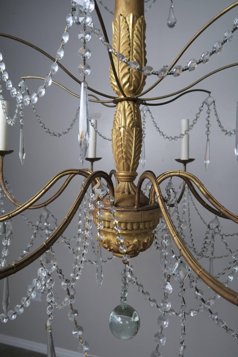 Italian Geneviere Style Giltwood and Crystal Chandelier9