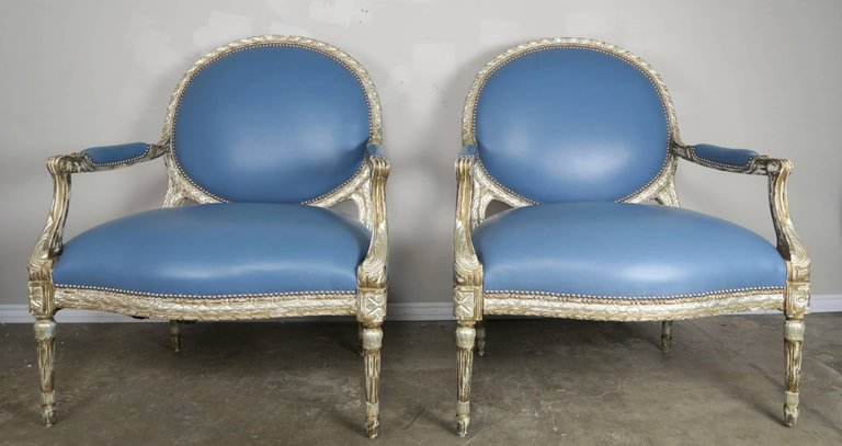 Silver Leaf Neoclassical Style Leather Armchairs, Pair 2