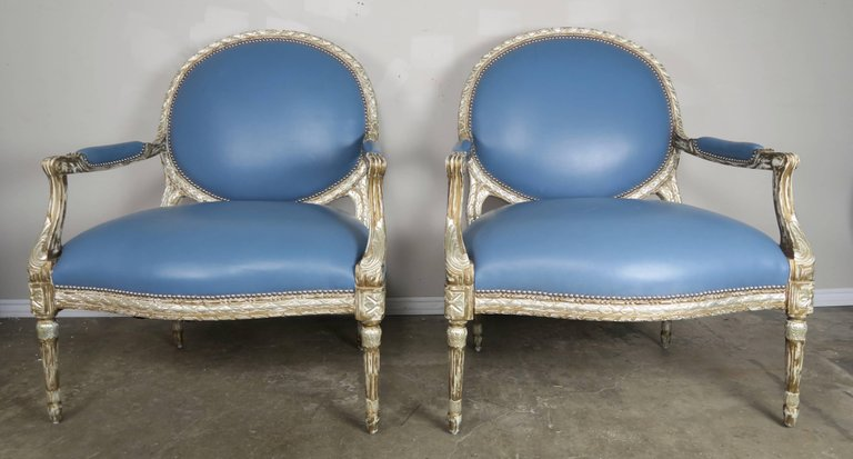 Silver Leaf Neoclassical Style Leather Armchairs, Pair11