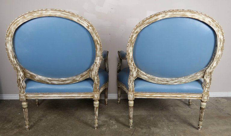 Silver Leaf Neoclassical Style Leather Armchairs, Pair4