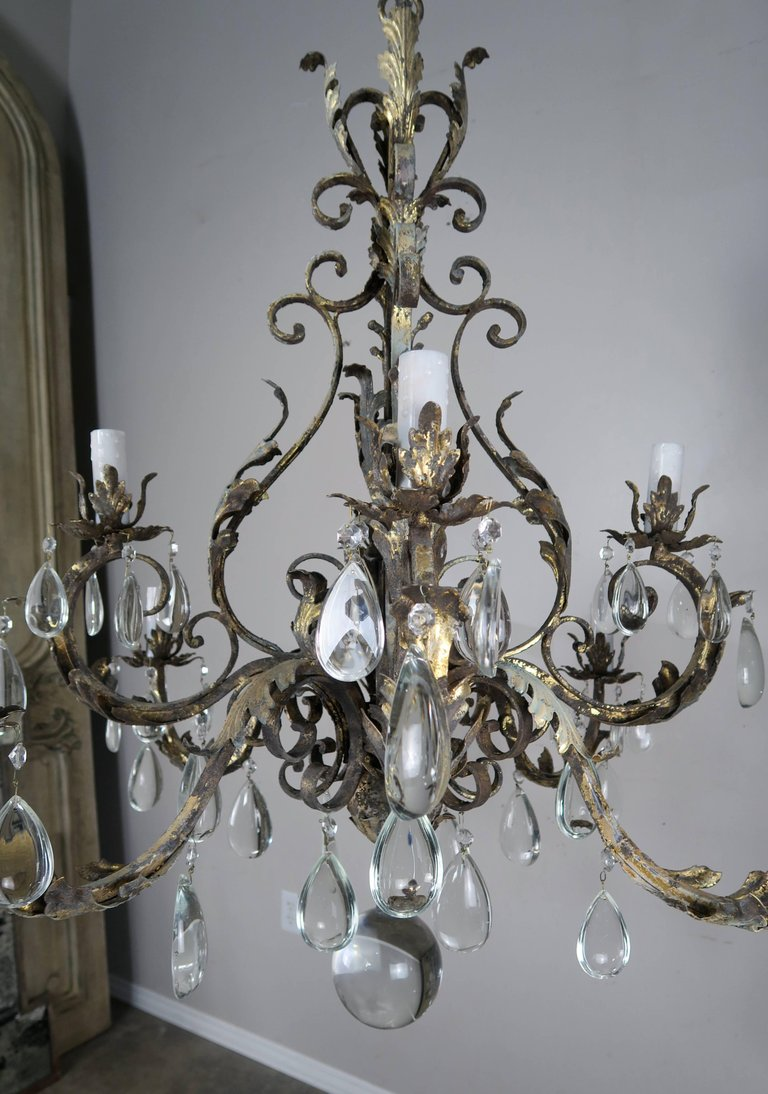 Italian Eight-Light Wrought Iron Crystal Chandelier ...