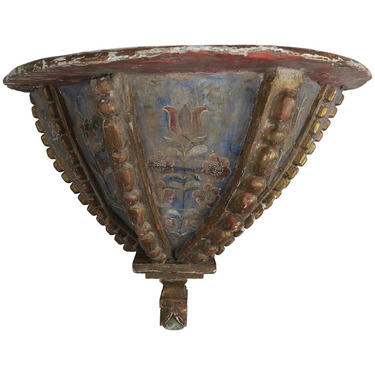 19th Century Spanish Painted Corbel:Shelf