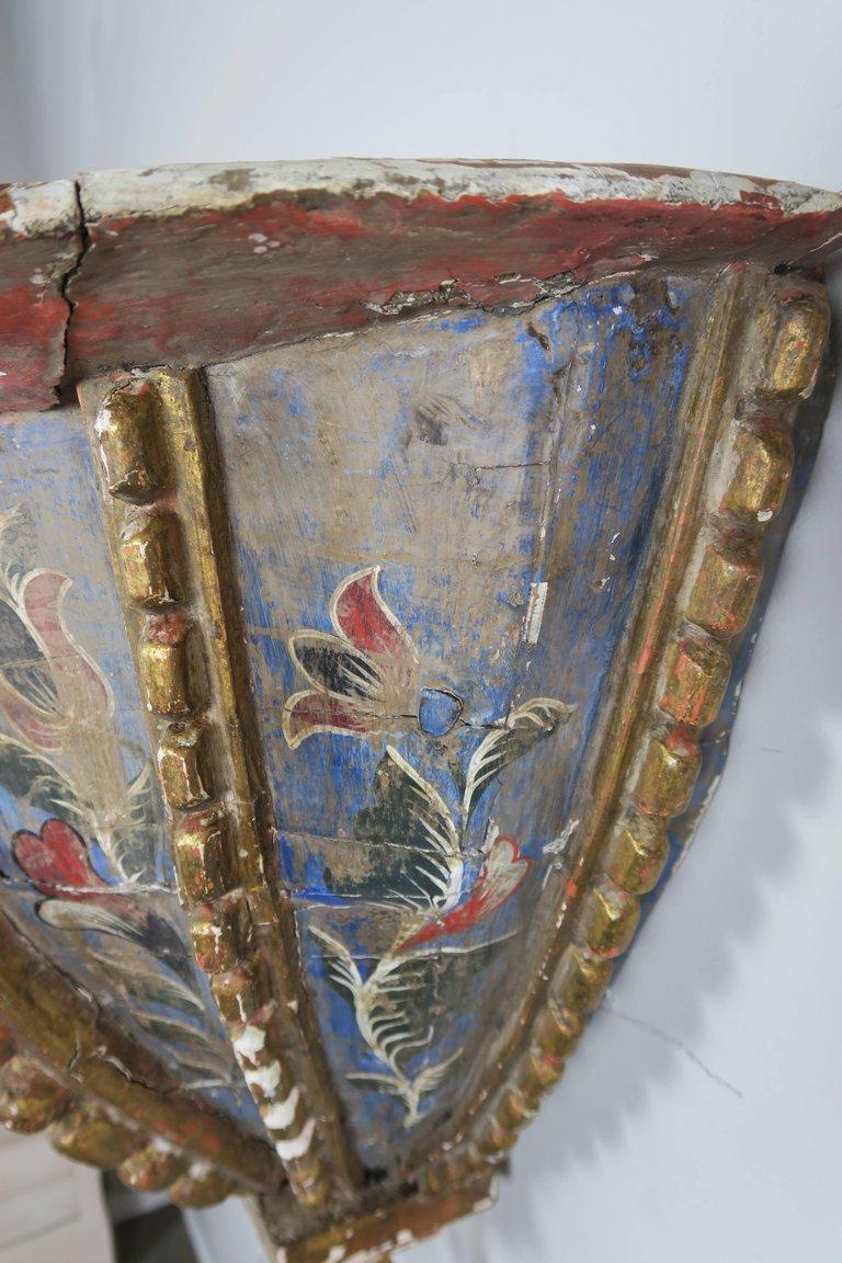 19th Century Spanish Painted Corbel:Shelf5