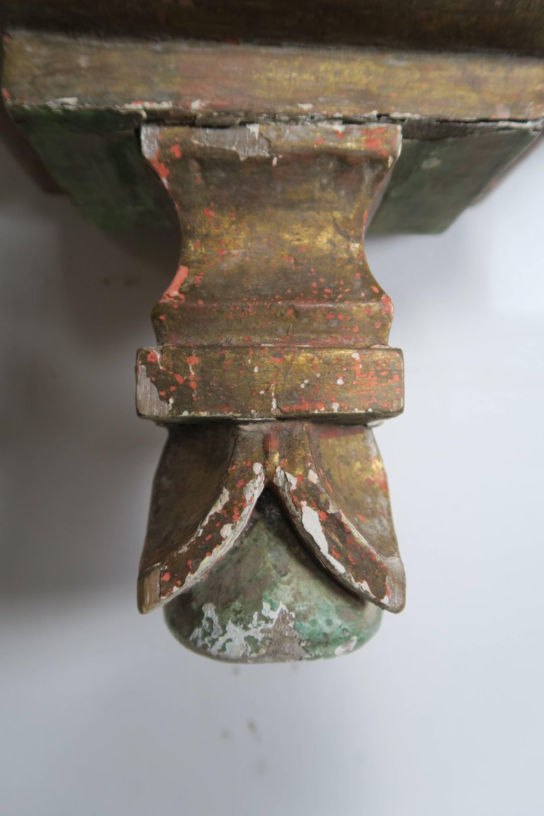 19th Century Spanish Painted Corbel:Shelf8
