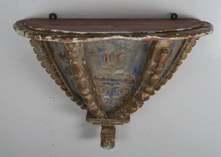 19th Century Spanish Painted Corbel:Shelf9
