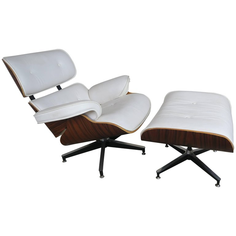 Eames Style White Leather Chair and Ottoman