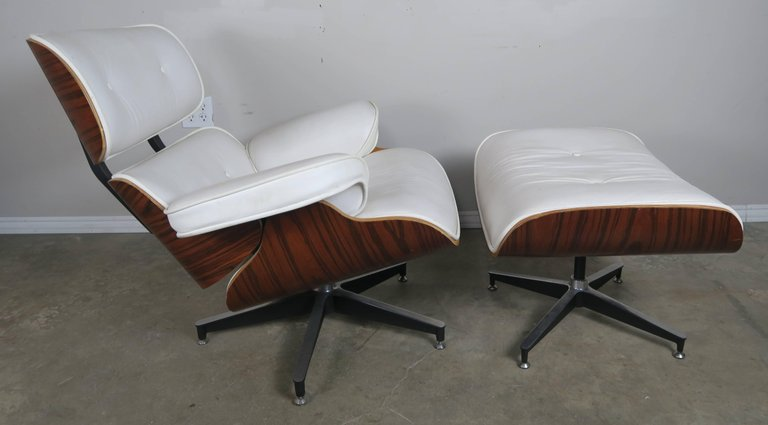 Eames Style White Leather Chair and Ottoman2
