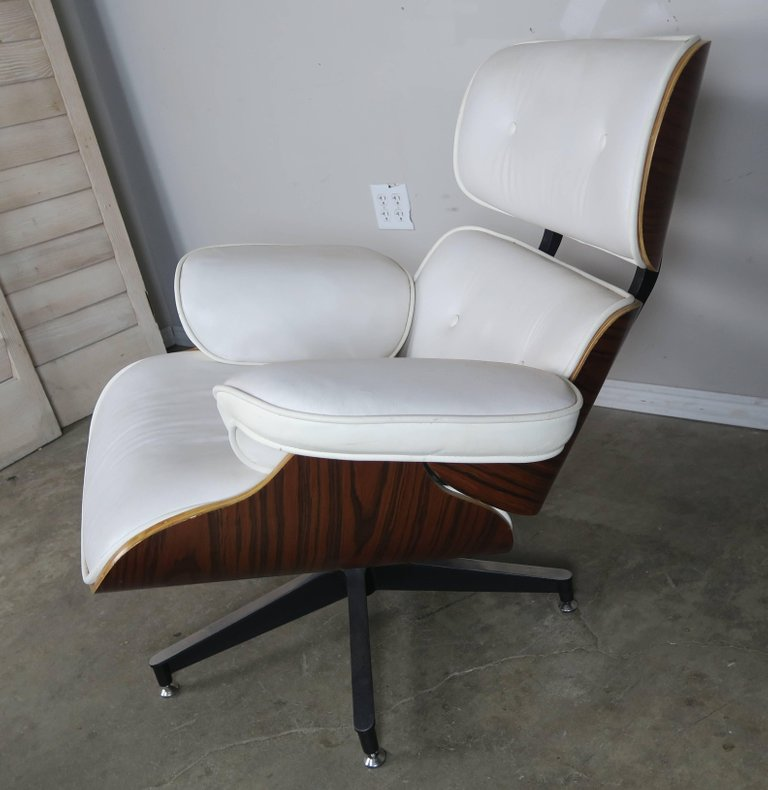 Eames Style White Leather Chair and Ottoman5
