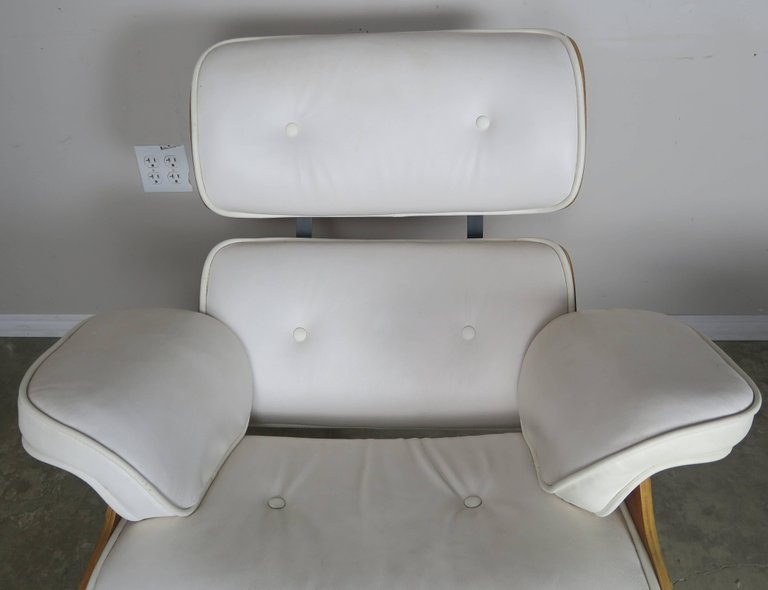Eames Style White Leather Chair and Ottoman6
