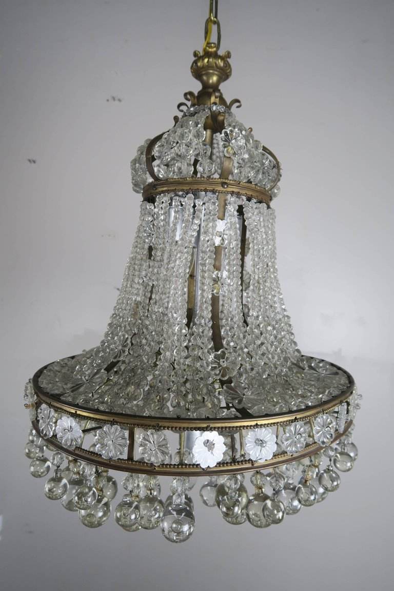 French Bronze Crystal Beaded Crown Chandelier, circa 1900s56