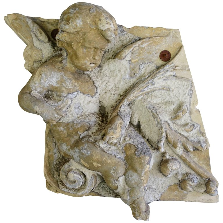 French Garden Gesso Fragment of Cherub, circa 1930