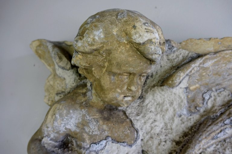 French Garden Gesso Fragment of Cherub, circa 19302