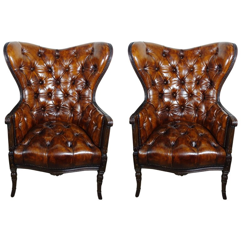French Leather Tufted Wingback Armchairs, Pair1